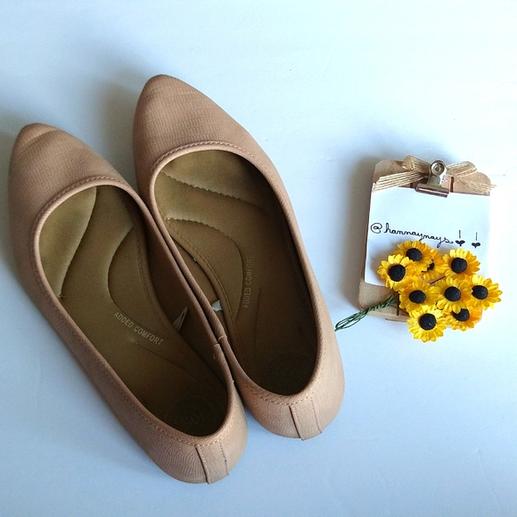 """🌻 3/$30 SO """"Added Comfort"""" Blush Pointed Toe Flats"""
